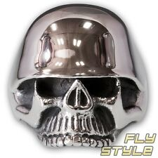Totenkopf Ring Edelstahl Herren Biker Stahlhelm Wehrmacht Skull Militaria Rocker