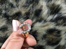 Gorgeous 14k yellow  Gold Diamond Horse Shoe Ring It's weight 7.4 grams