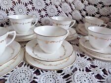 Or Vintage Chantilly Royal Worcester 6 Trios Tasse Soucoupe Assiette Mariage A1 très bon état