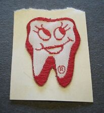 Fabric Label - In The Shape of A Tooth In White & Red Colors - New