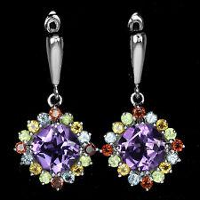 Sterling Silver 925 Amethyst & Rainbow Gemstone Multigem Dangle Design Earrings