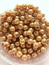 6mm Glass faux Pearls - Caramel (warm light brown) 100 beads