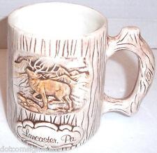 Lancaster PA Travel Souvenir Large Mug Cup Deer Stag Vintage Treasure Craft