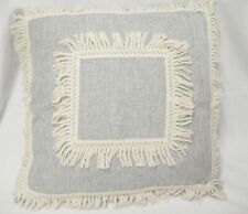 """Gray Throw Pillow with Off White Fringe on Edge and Center 19"""" Square Decorative"""