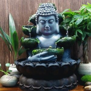 Handmade LED Water Fountain Zen head Buddha Statue New Indoor Tabletop waterfall