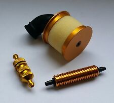 1/10 RC Nitro Kit Air Filter/Fuel Filter/Fuel Cooler Gold Alloy