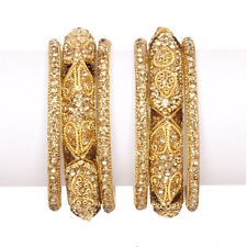 Gold Plated Ethnic Indian American Diamond Bangles Braclets Party Wear Jewelry