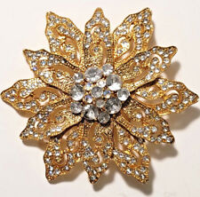 Pin Gold w/clear Austrian Crystals New Worthington Vintage look Flower Brooch