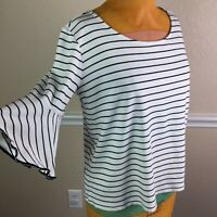 41 Hawthorn Stitch Fix Womens Top 3/4 Bell Sleeve Striped Stretch Knit Size L