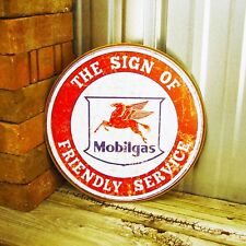 Mobil Gas Mobilgas Oil Logo Round Metal Tin Sign Pegasus Vintage Style Gasoline