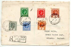 Leeward Islands 1939 Reg cover to UK franked with six different KGVI low values