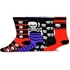 TeeHee Novelty Young Men Halloween Fun Crew Socks 4-Pack (I love Skull)
