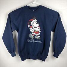 Disney Mickey Mouse Mens Large Crewneck Sweat Shirt Santa Blue V9