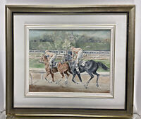 Oil Painting On Board Horse Racing Racing Horses Kentucky Derby Signed