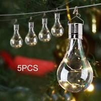 5x Solar Powered Hanging Light Bulbs Garden Lights Warm White Outdoor Patio Xmas