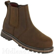 Safety Dealer Boots by ARMA Steel Toe Cap S3  Brown Leather Chelsea A17 Ridgback