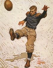 J C LEYENDECKER BOOK PRINT 1912 COLLEGE FOOTBALL PLAYER PUNTS WITH SPIKED SHOE