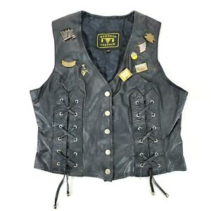 Vintage Barney's Leather Motorcycle Vest With Pins Womens Size Medium M Lace Up