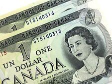1973 Canada 1 Dollar Uncirculated GT Lawson Bouey 2 Consecutive Banknotes N287