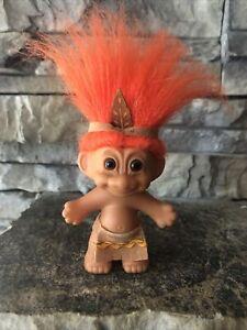 "Troll Doll By Russ! 3"" Orange Hair Brown Eyes! Indian Boy! Thanksgiving!"