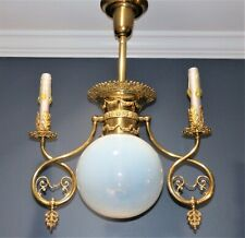 Antique Opalescent Iridescent Candle GAS ELECTRIC Combo CHANDELIER Light Fixture