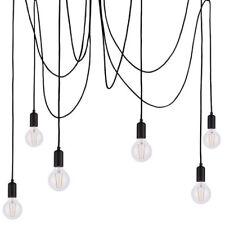 Multi Light Ceiling Pendant –6 Bulb Matt Black– Industrial Adjustable Hang Hook