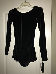 NEW NWT MONDOR BLACK VELVET EXAMINATION FIGURE SKATING DRESS 2850 ADULT MEDIUM