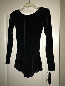 NEW NWT MONDOR BLACK VELVET EXAMINATION FIGURE SKATING DRESS 2850 ADULT MEDIUM