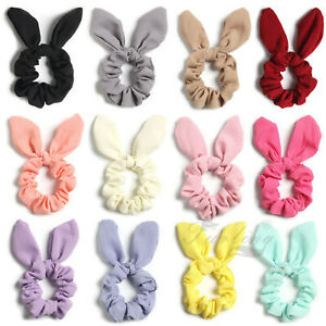 Pack of 2 Solid Chiffon Bunny Ear Bow Hair Scrunchies Ponytail Holder Ties