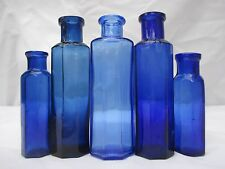 5x SMALL STUNNING COBALT BLUE CHEMIST MEDICINE APOTHECARY BOTTLES NOT POISON