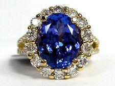 Tanzanite Ring Pave Halo diamond 14K Yellow gold AAA+ Heirloom 5.31ct FREE $10,7