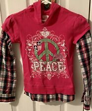 Girl's,Justice,2 in 1 Shirt Pink & Plaid Long Sleeve Peace Distressed Hood Sz 10