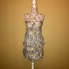 Cynthia Steffe Silk Floral Abstract Ruffle Strapless Cocktail Dress Size 10