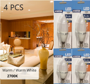 4 X STATUS E14 8W = 60W LED CANDLE PEARL WARM WHITE 806 LUMENS LONG LIFE HEAVY D