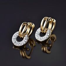 Unique Women Jewelry 18K Gold Filled White Cubic Zirconia Cheap Dangle Earrings