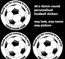48x Personalised football Labels Stickers Party bag Seals sweet cones 45mm round