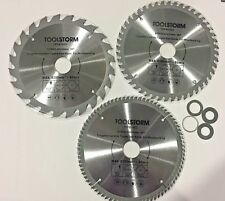 3X COMPOUND MITRE SAW BLADE 190MM  24T 48T 80T FIT MAKITA,HITACHI,OZITO,BOSCH