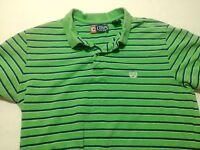 Chaps Polo Shirt Size M Striped Green Blue White Men's Short Sleeve Cotton