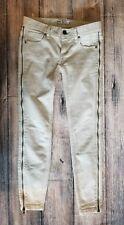 Free People Clothing Levon Zipper Skinny Beige Bone color sz 24 Inseam 29
