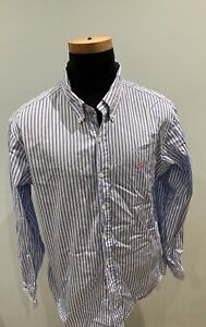 Mens Polo by Ralph Lauren long sleeve blue pink pin striped shirt size XL