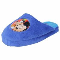 WD8124- Boys Blue Disney Mickey Mouse Textile Slippers- Great Price!
