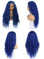 """US 24"""" Handtied Afr Curly Blue Synthetic Hair GlueLess Lace Front Wig"""