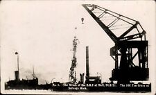 Hull. The Wreck of the Z.R.2 Airship. The 100 Ton Crane at Salvage Work.