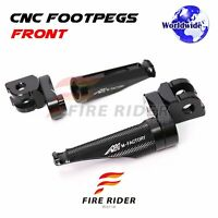 Black CNC 25mm Adjustable Front Footpegs For Triumph Street Cup Twin Thruxton R