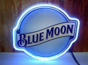 """Blue Moon Neon Light Signs Real Glass Beer Pub Party Shop Store Garage Decor 16"""""""