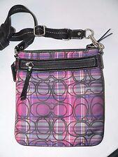 Coach Bag  Cross-body Swingpack Poppy Blue Purple Tartan Plaid  Rare #48153 B9