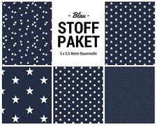 Stoffpaket blau 5x (0,5 x 1,50m) Patchworkpaket Baumwolle Nähpaket DIY Stoffe