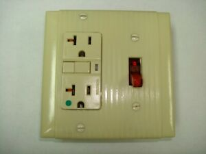 Vintage Uniline Ivory Decora GFCI Switch Outlet Wall Cover Plate 2 Gang P&S