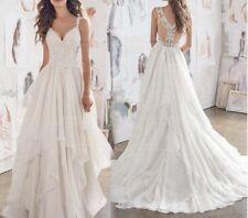 New white Ivory  Sleeveless Bridal Wedding Dress Gown