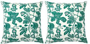 "Set of 2 - ALPKLOVER Cushion cover, natural/dark green 20 x 20 """
